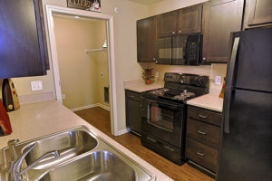 Kitchen at Stallion Pointe with hardwood floors