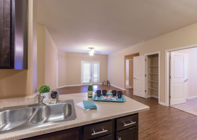 View of the living room at Stallion Pointe apartments in Everman, TX