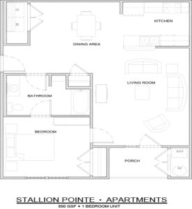Stallion Pointe 1-bedroom floor plan