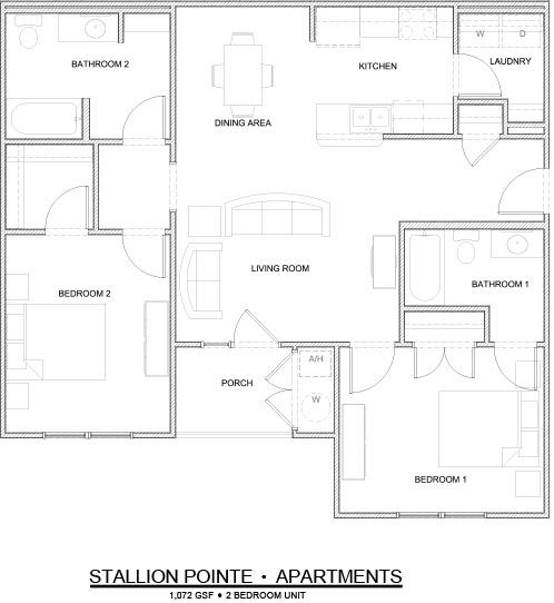 Secretariat- 2 bedroom 2 bath 1072 sq ft