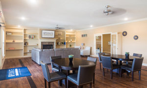 Stallion Pointe clubhouse community area with couches and tables