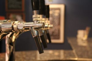 Beer taps at a brewery